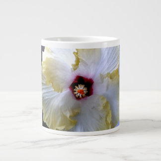 hibiscus flower white yellow center picture large coffee mug