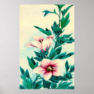 Hibiscus Flowers 1870 Print