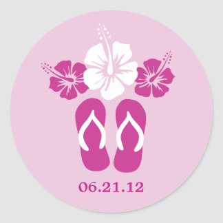 Hibiscus Flowers and Flip Flops Classic Round Sticker