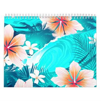 Hibiscus flowers at the beach calendar