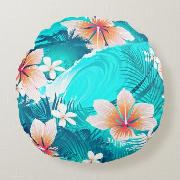 Beach Themed Hibiscus flowers at the beach round pillow
