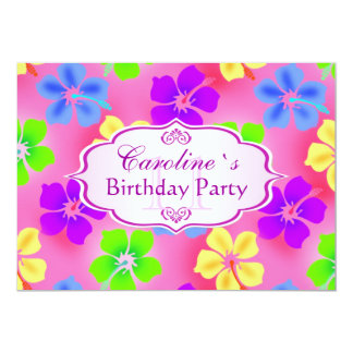 Hibiscus flowers Birthday Party Personalized Invites