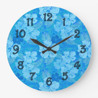 Hibiscus Flowers Blue Batik Fabric Clocks