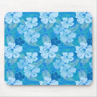Hibiscus Flowers Blue Batik Mouse Pad
