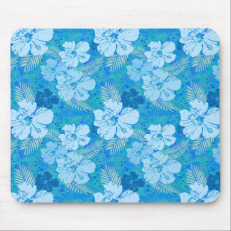 Hibiscus Flowers Blue Mouse Pad