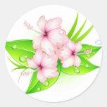 hibiscus flowers classic round sticker