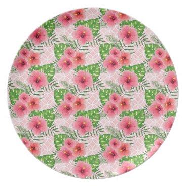 Beach Themed Hibiscus Flowers Dinner Plate