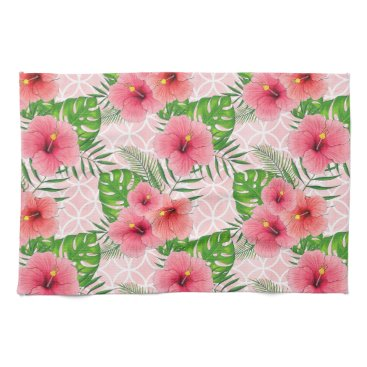 Beach Themed Hibiscus Flowers Kitchen Towel