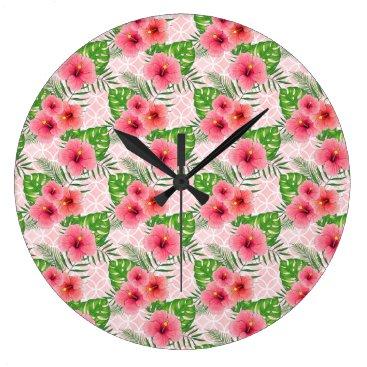 Beach Themed Hibiscus Flowers Large Clock