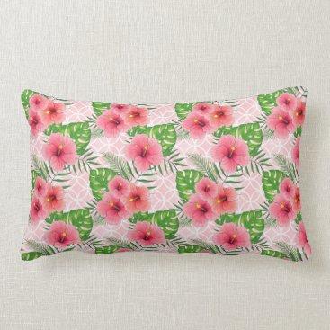Beach Themed Hibiscus Flowers Lumbar Pillow
