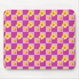 Hibiscus Flowers on a checkered purple background Mouse Pad