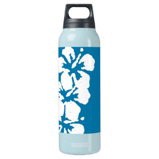 Hibiscus Flowers on Blue Insulated Water Bottle
