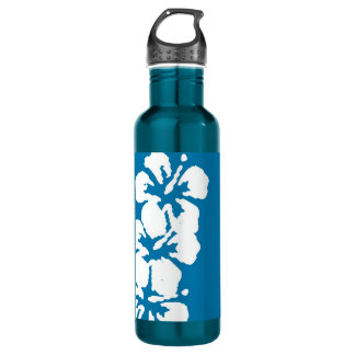 Hibiscus Flowers on Blue Stainless Steel Water Bottle
