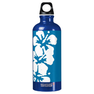 Hibiscus Flowers on Blue Water Bottle