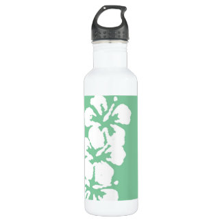 Hibiscus Flowers on Green Stainless Steel Water Bottle