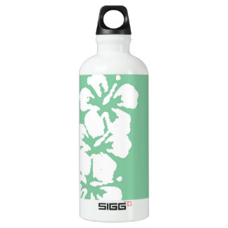 Hibiscus Flowers on Green Water Bottle