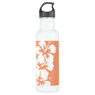 Hibiscus Flowers on Peach Stainless Steel Water Bottle