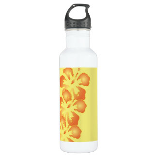 Hibiscus Flowers on Yellow Water Bottle