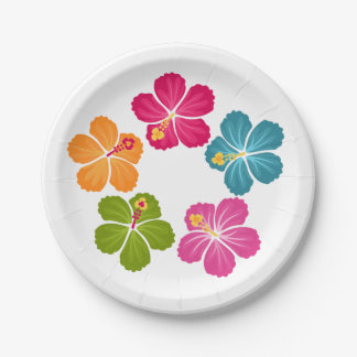 Hibiscus Flowers Paper Plate