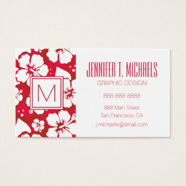 Beach Themed Hibiscus Flowers Pattern Business Card