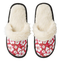 Hibiscus Flowers Pattern Pair Of Fuzzy Slippers