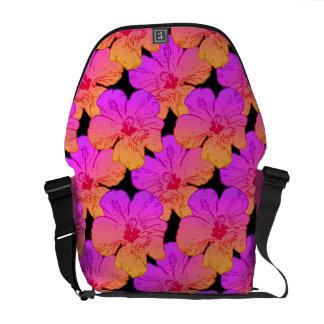 Hibiscus Flowers Pink on Black Messenger Bag