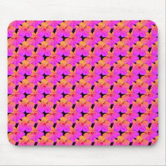 Hibiscus Flowers Pink on Black Mouse Pad