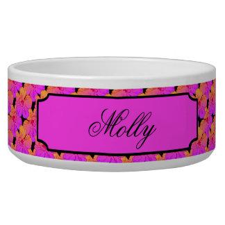 HIbiscus Flowers Pink on Black Pet Bowl
