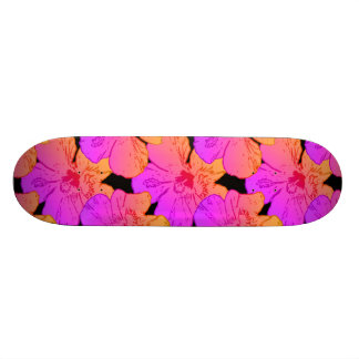 Hibiscus Flowers Pink on Black Skateboard