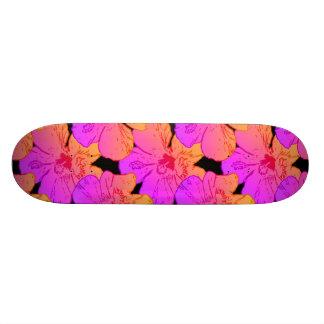 Hibiscus Flowers Pink on Black Skateboard Deck