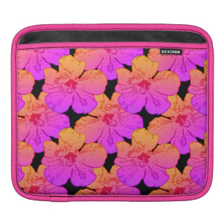 Hibiscus Flowers Pink on Black Sleeve For iPads