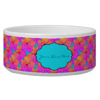 Hibiscus Flowers Pink on Turquoise Dog Food Bowls