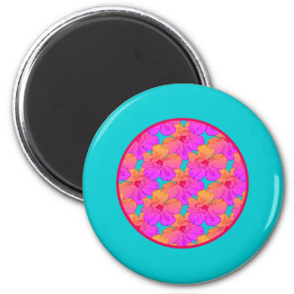 Hibiscus Flowers Pink on Turquoise Magnet
