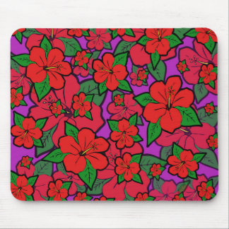 Hibiscus Flowers Purple Mouse Pad