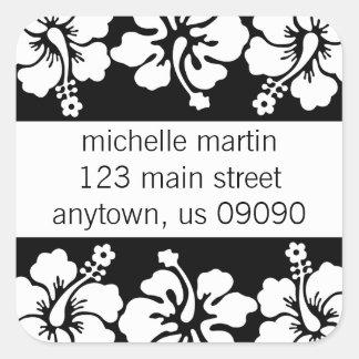 Hibiscus Flowers Return Address Label (Black) Square Sticker