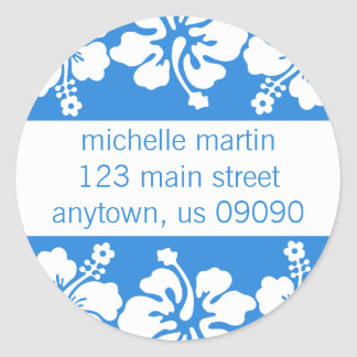 Hibiscus Flowers Return Address Label (Blue)