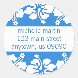 Hibiscus Flowers Return Address Label (Blue) Classic Round Sticker