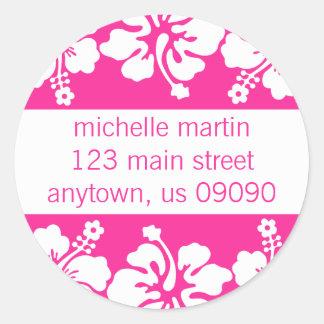 Hibiscus Flowers Return Address Label (Dark Pink) Classic Round Sticker