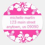 Hibiscus Flowers Return Address Label (Dark Pink) Round Sticker