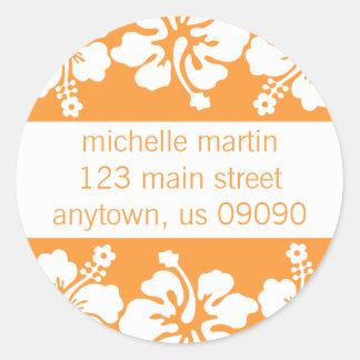 Hibiscus Flowers Return Address Label (Orange) Classic Round Sticker