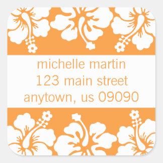 Hibiscus Flowers Return Address Label (Orange) Square Sticker