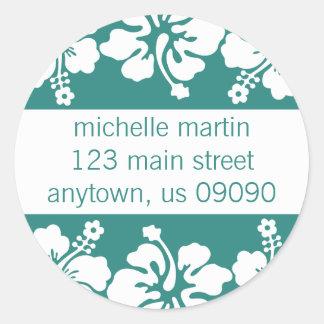 Hibiscus Flowers Return Address Label (Sea Foam) Round Stickers