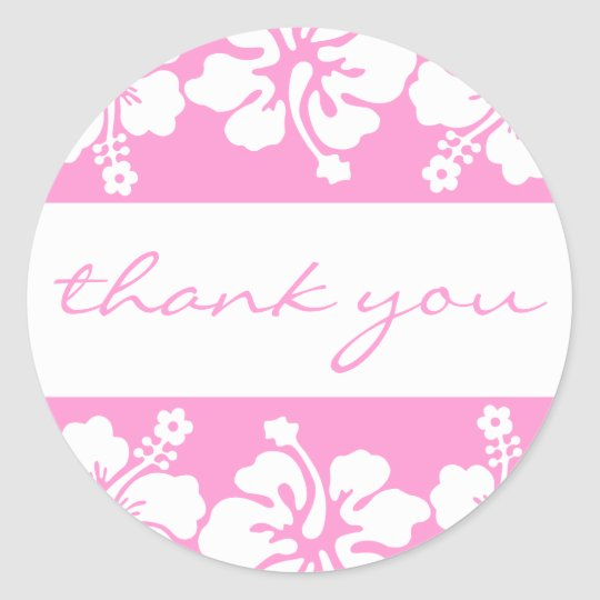 Hibiscus Flowers Thank You Label (Pink)