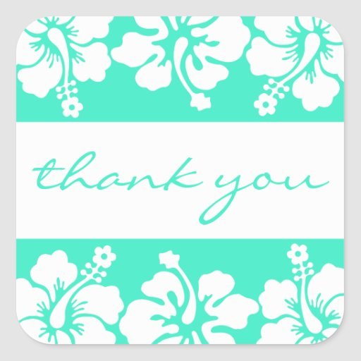Hibiscus Flowers Thank You Label (Sea Green) Square Sticker