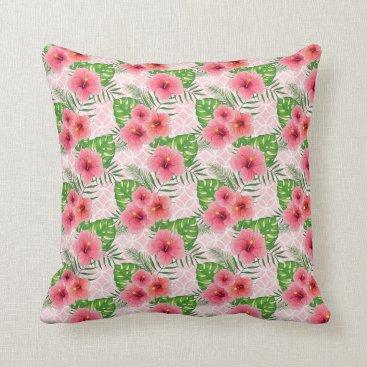 Beach Themed Hibiscus Flowers Throw Pillow
