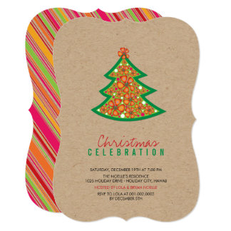 Hibiscus Flowers Tropical Christmas Party Invite