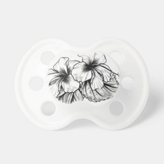 Hibiscus Flowers Vintage Style Woodcut Engraved Et Pacifier