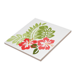 Hibiscus Flowers w/Greens; Style1:Right Facing Ceramic Tile