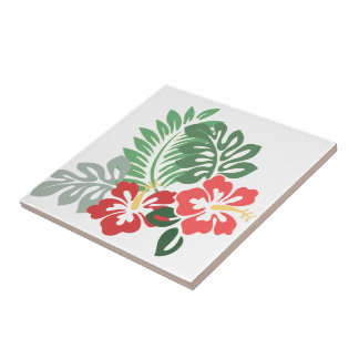 Hibiscus Flowers w/Greens; Style2: Right Facing Ceramic Tiles