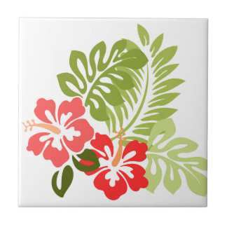 Hibiscus Flowers w/Greens; Style 1:Left Facing Ceramic Tile